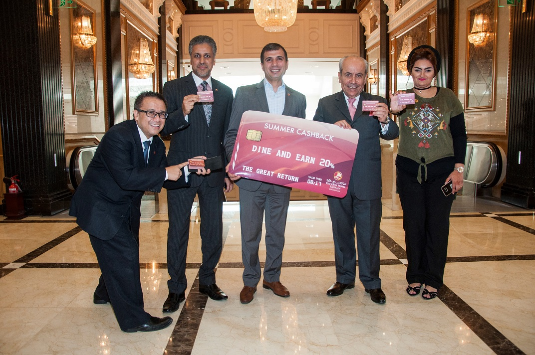 Ryan Advincula, Raed Mayoof, Charbel Hanna, Rahim Abu Omar and Sameera Al Hulaibi, launch of the summer cash back promotion, Gulf Hotel Bahrain