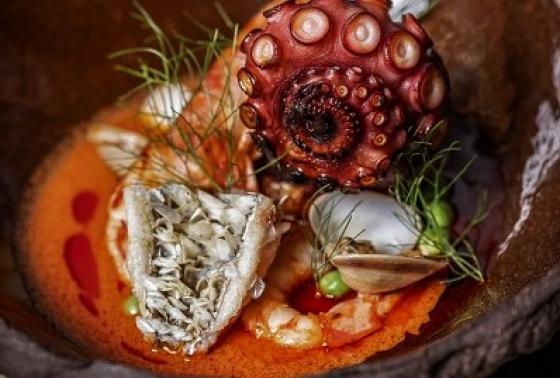 """Bouillabaisse Curry: Octopus, clams, seasonal seafood """