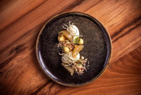 """Cheesecake: Yuzu, pink pepper, miso"""