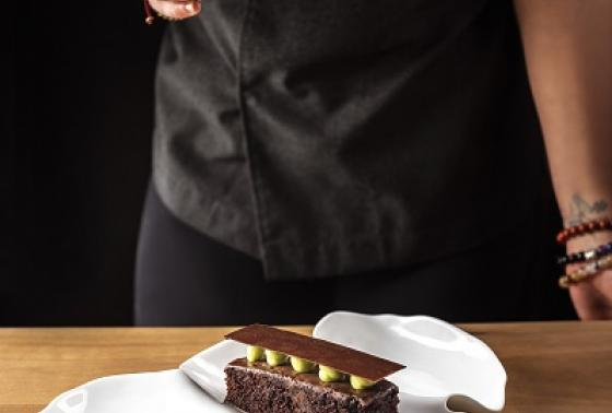 """A sweet ending: Chocolate & pistachio, the classic combination cut with a tart whey caramel """